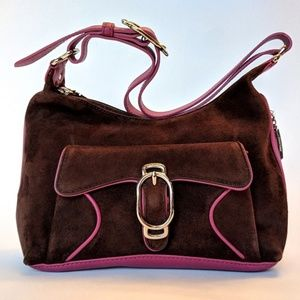 Cole Haan Alexa Suede and Leather Brown Purse